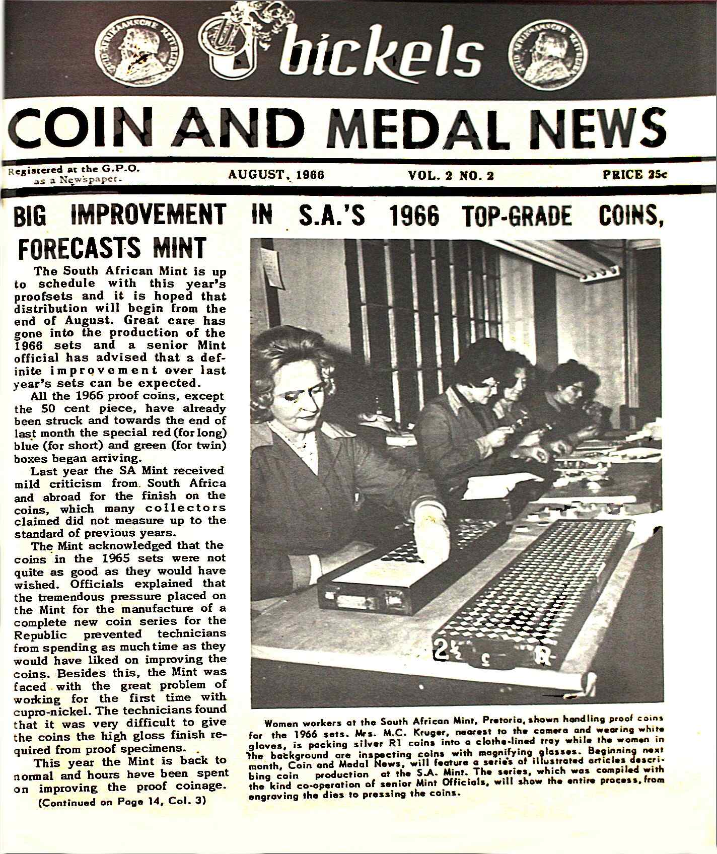 Bickels Coin & Medal News August 1966 Vol 2 No 2