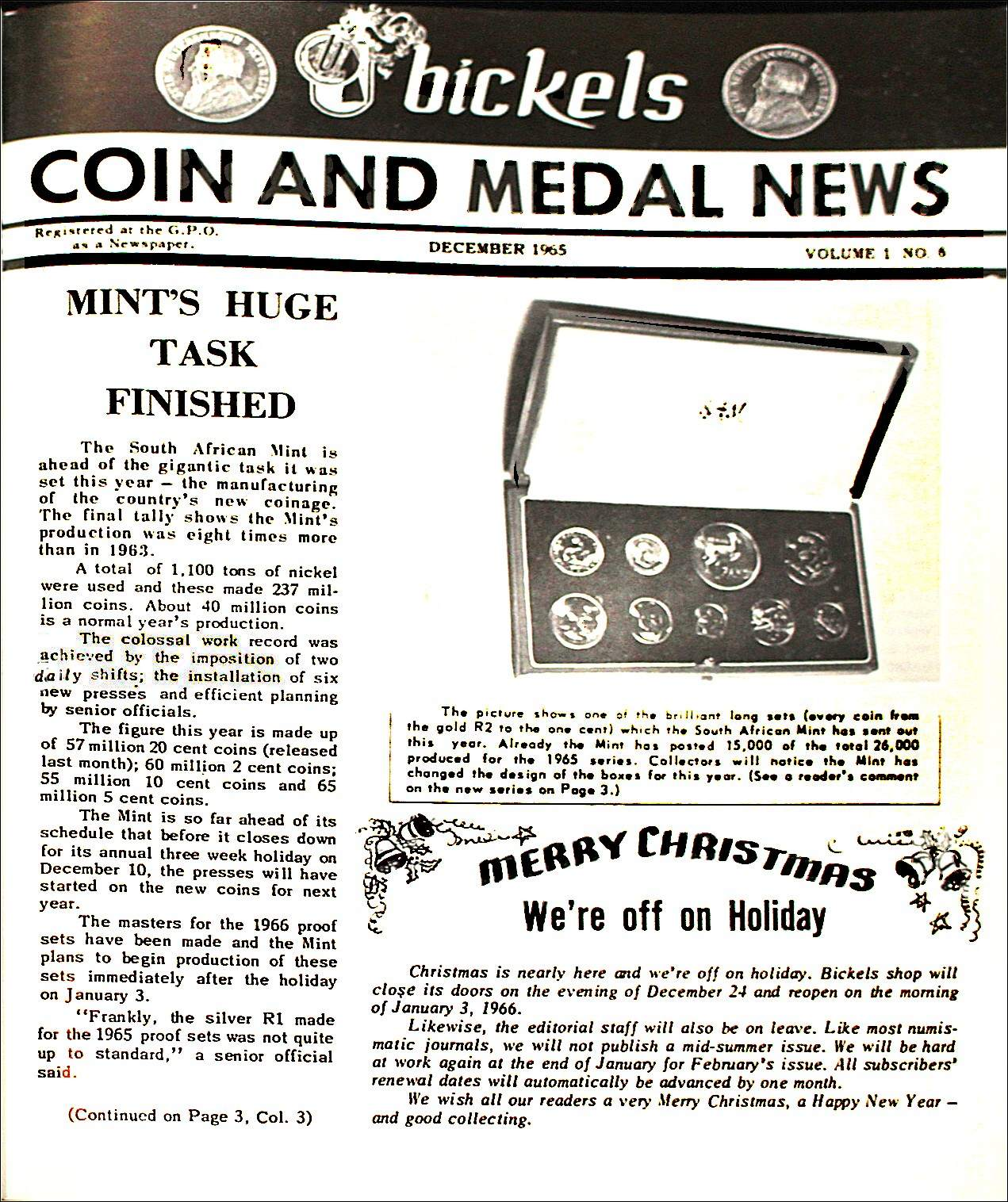 Bickels Coin & Medal News December 1965 Vol 1 No 6