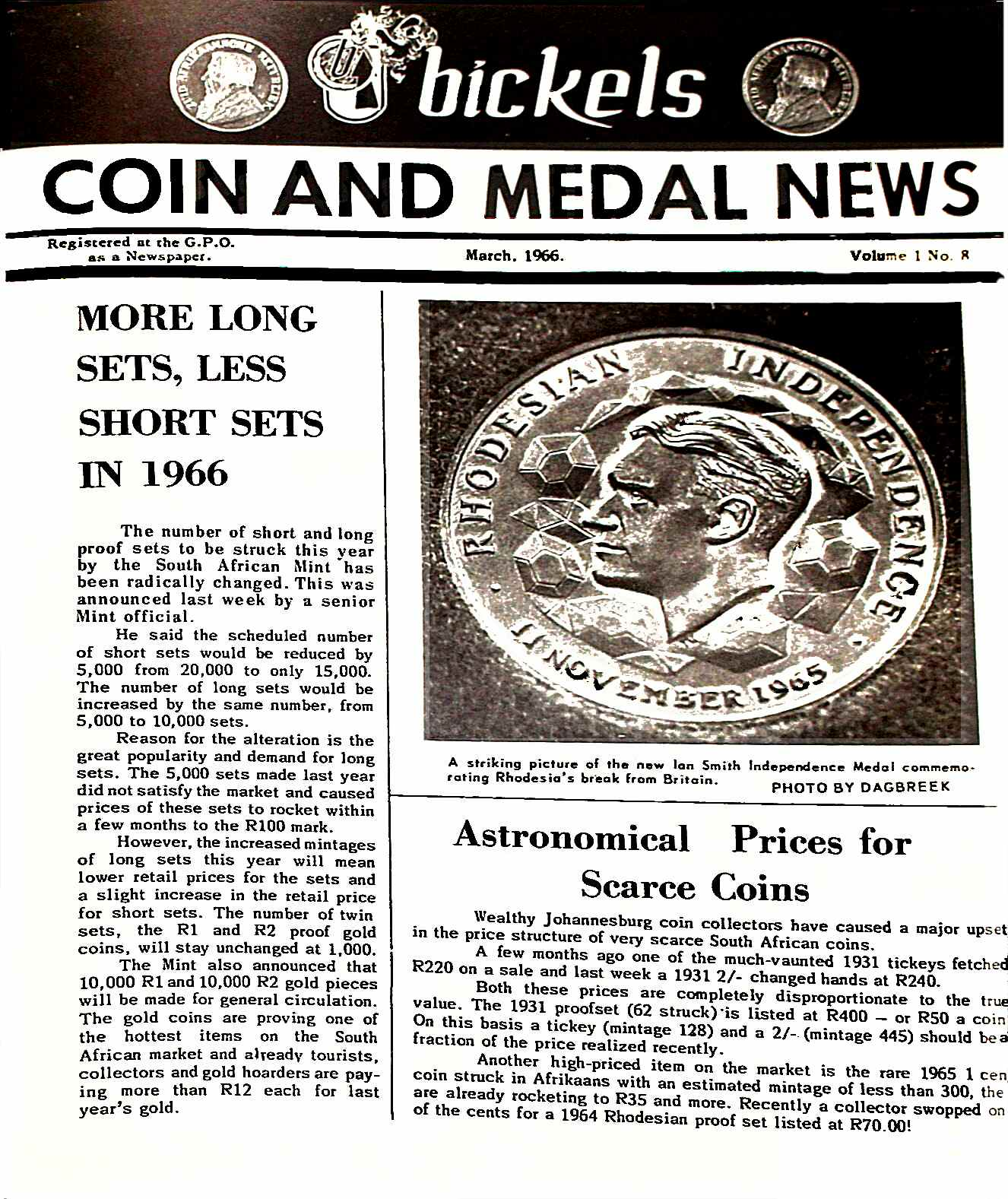 Bickels Coin & Medal News March 1966 Vol 1 No 8