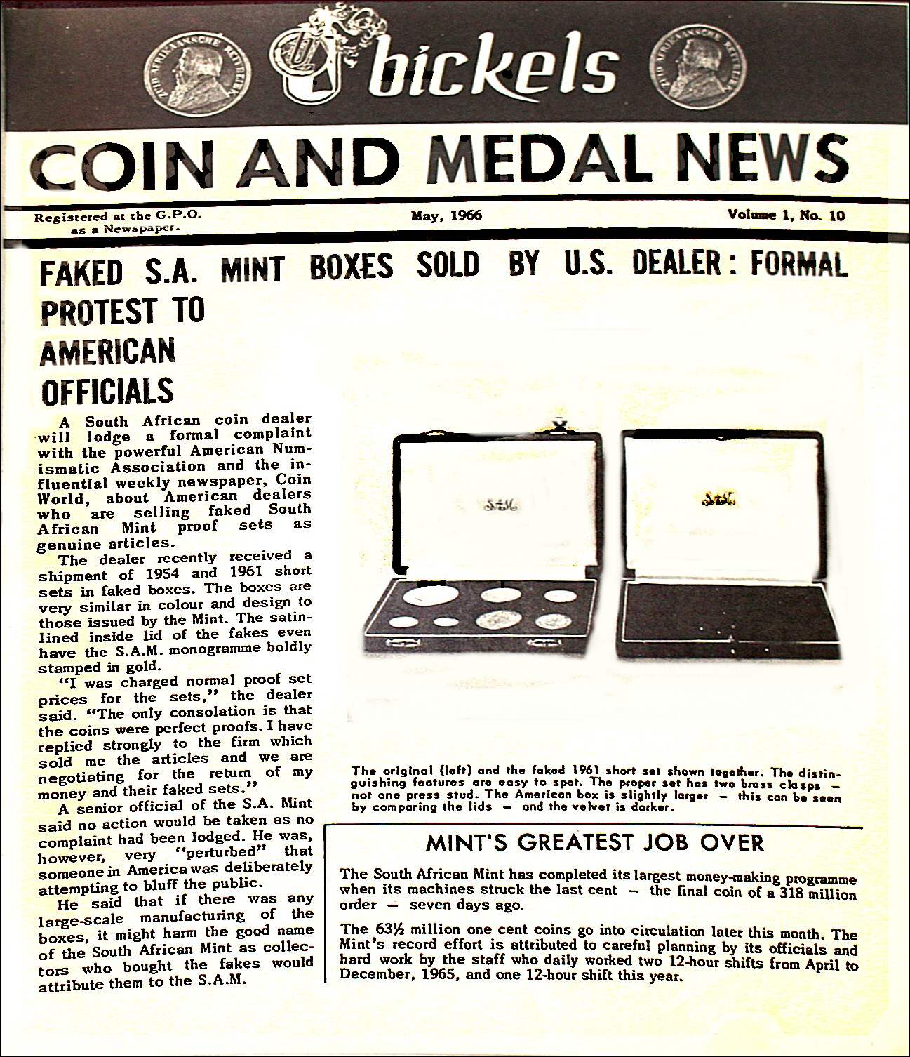 Bickels Coin & Medal News May 1966 Vol 1 No 10