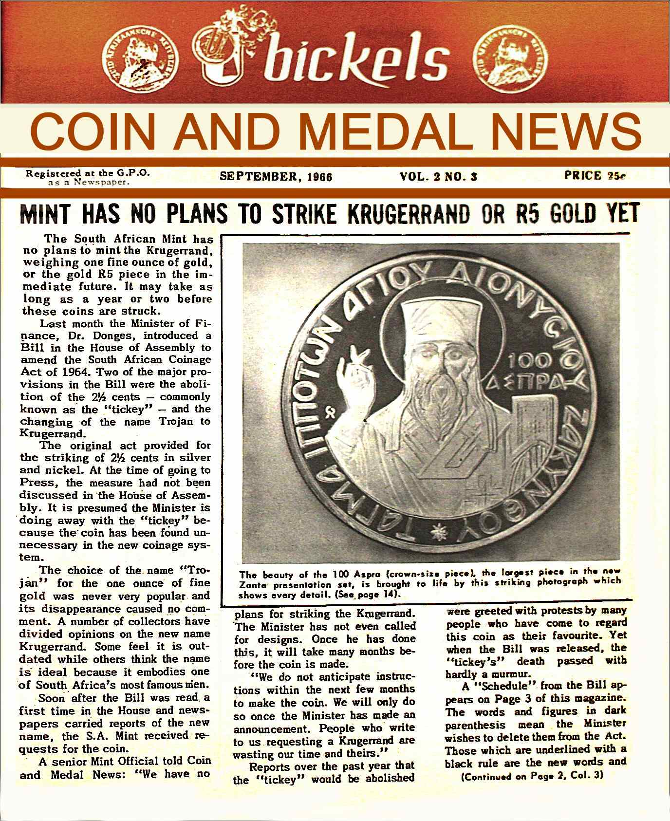 Bickels Coin & Medal News September 1966 Vol 2 No 3