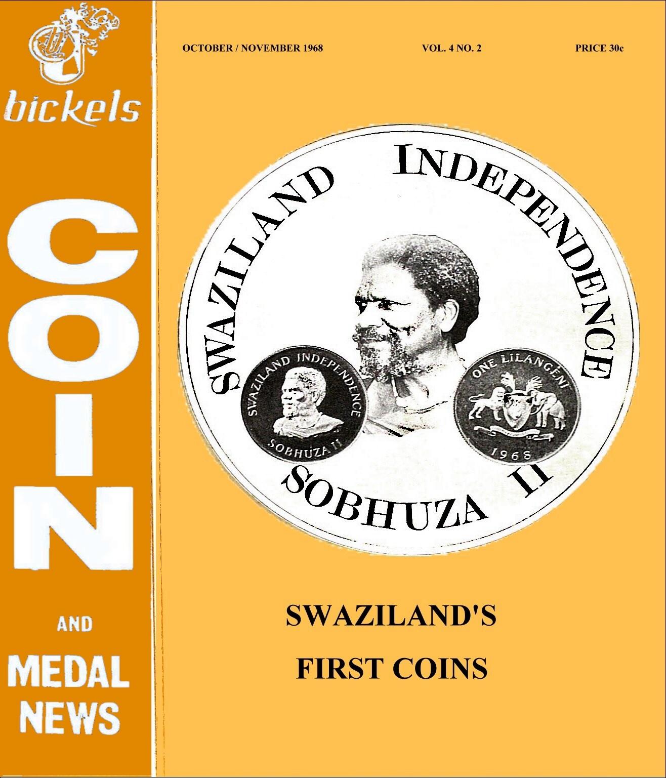 Bickels Coin & Medal News October November 1968 Vol 4 No 2